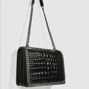 Zara embossed leather chain bag